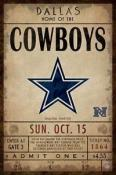 Dallas Cowboys Ticket Canvas
