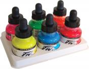 Daler Rowney Fluorescent FW Acrylic Artists Ink 6 Color Set