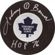 Johnny Bower HOF 76 Autographed Puck