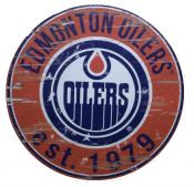 Edmonton Oilers 24″ Round Wood Sign
