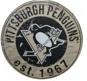 Pittsburgh Penguins 24″ Round Wood Sign