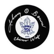 Johnny Bower China Wall Autographed puck